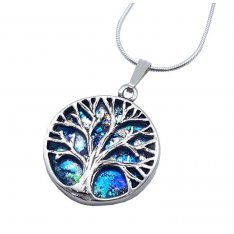Roman Glass 925 Sterling Silver Tree of Life Pendant Necklace