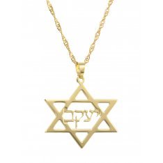 Star of David Hebrew Cursive 18k Gold Plated Name Necklace